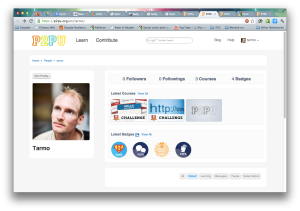 Example student profile with badges