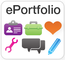 ePortfolio icon including icons for a social profile, toolbox, discussions, pencil and heart