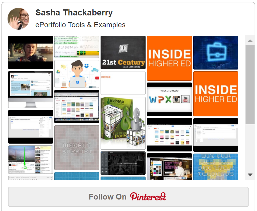 Pintrest board showing ePortfolio tools and examples