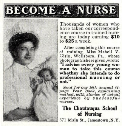Advertisement stating Become a Nurse via correspondance courses.