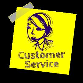 Customer Service sticky note