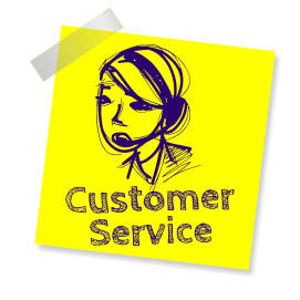 Customer Service sticky note